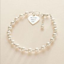 Engraved Memorial Bracelet, Pearls and Sterling Silver